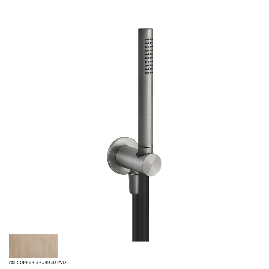 Gessi 316 Shower set, outlet, shower hook and handshower 708 Copper Brushed