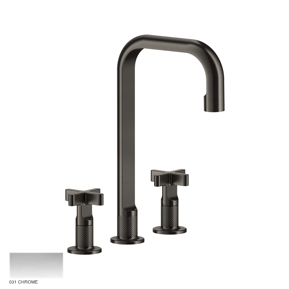 Inciso+ Three-hole Basin Mixer with spout and pop-up waste 031 Chrome