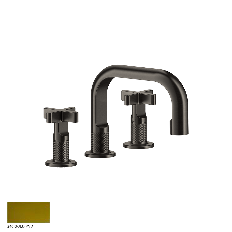 Inciso+ Three-hole Basin Mixer with spout and pop-up waste 246 Gold PVD