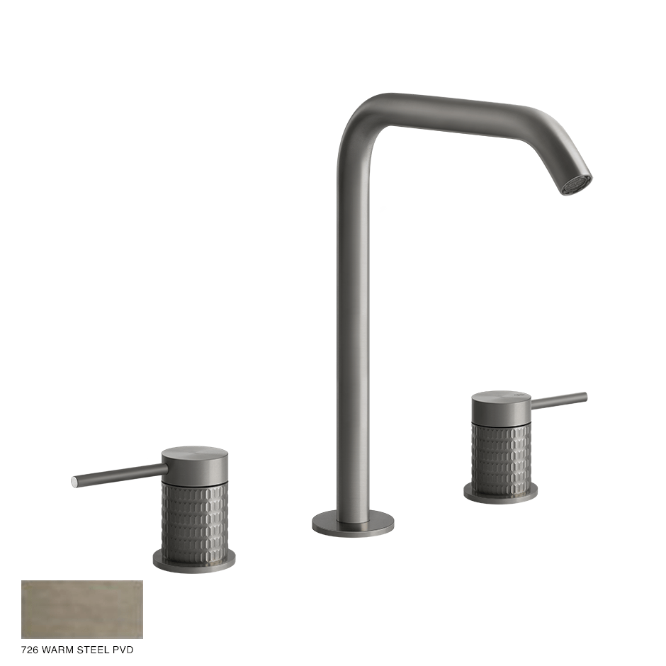Gessi 316 Three-hole Basin Mixer Meccanica, without waste 726 Warm Bronze Brushed PVD