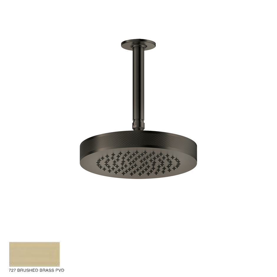 Inciso Ceiling-mounted Showerhead, custom length 727 Brushed Brass PVD