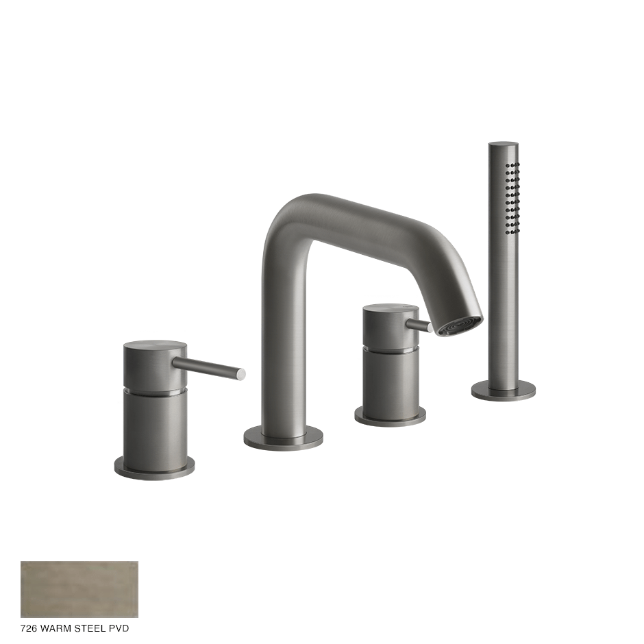 Gessi 316 Four-hole bath mixer with diverter, handshower 726 Warm Bronze Brushed PVD