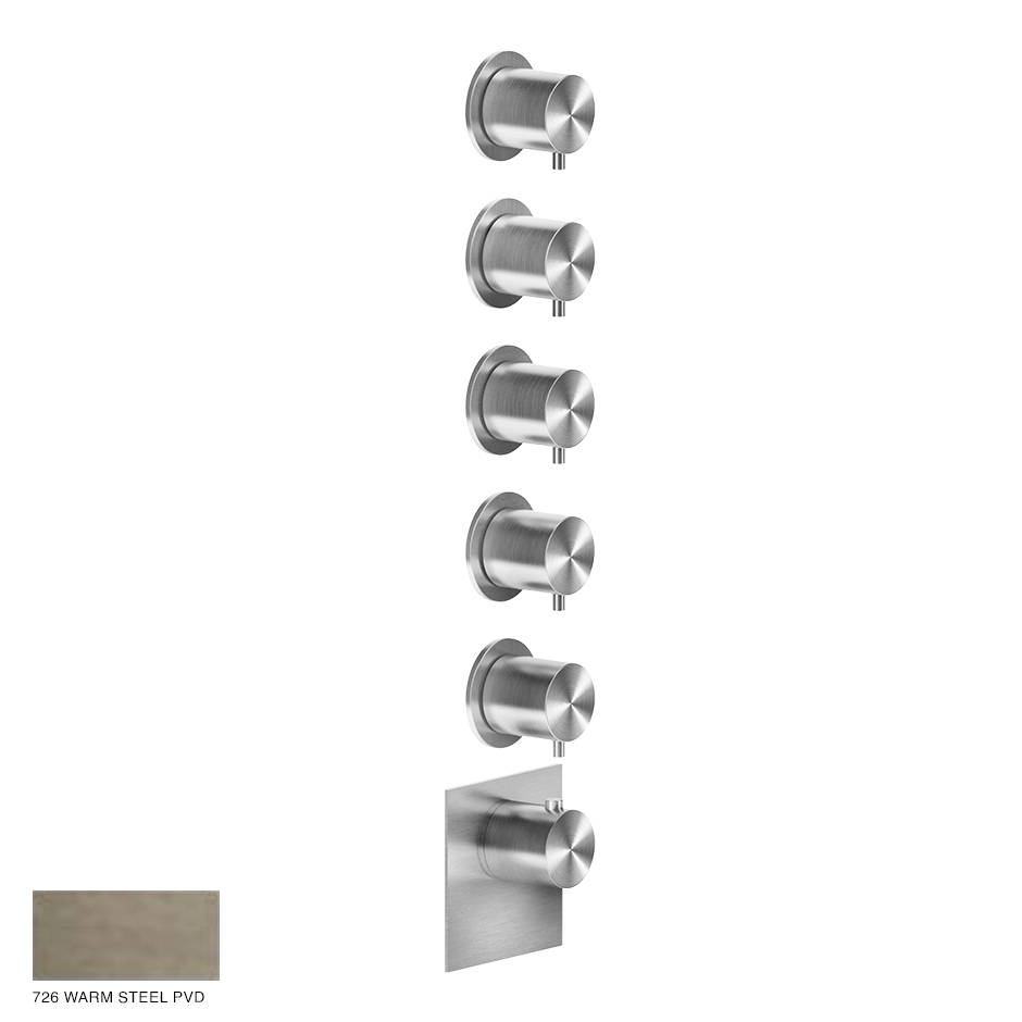 Gessi 316 Wellness Built-in mixer, five outlets 726 Warm Bronze Brushed PVD