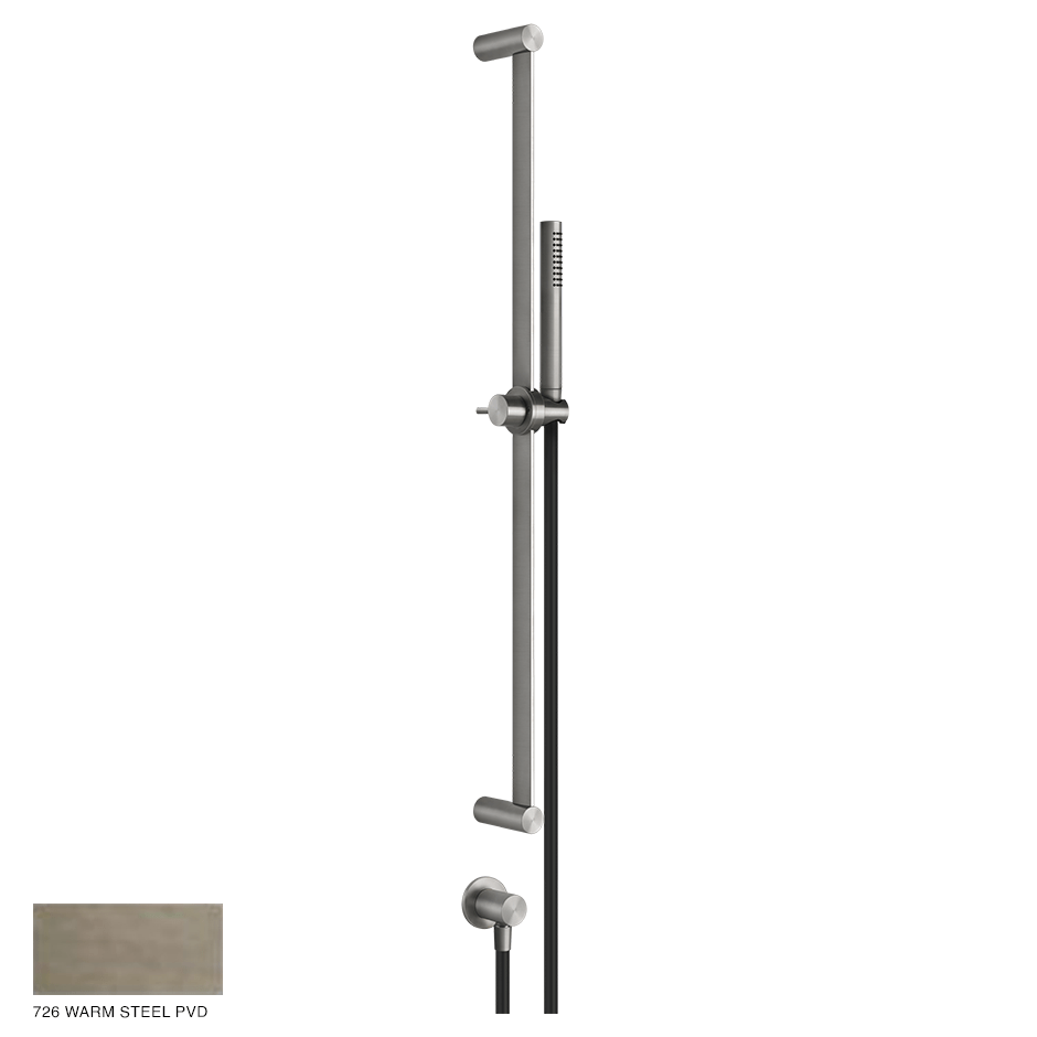 Gessi 316 Sliding rail with handshower, outlet and hose 726 Warm Bronze Brushed PVD