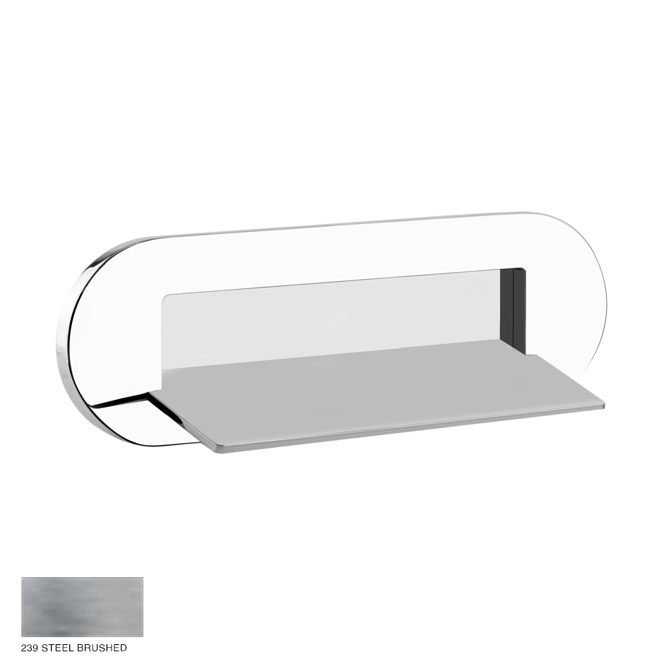 Ovale Wall-fixing cascade shower spout, separate control 238 Steel Brushed