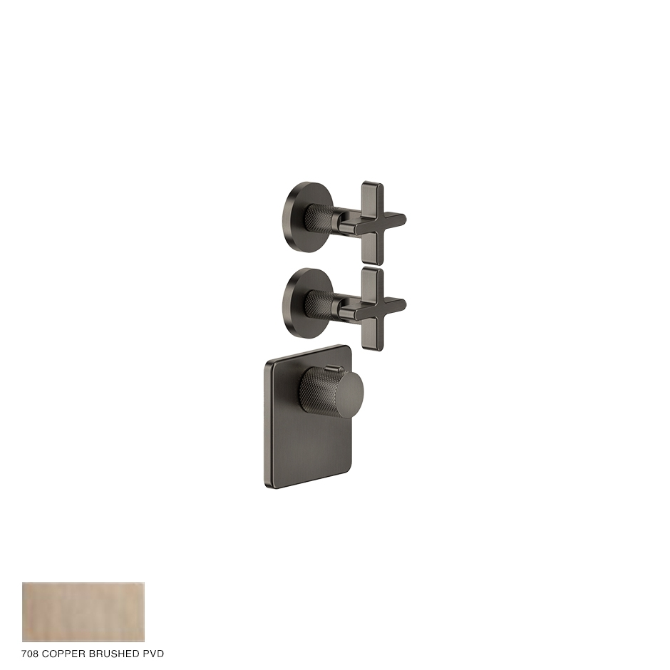 Inciso Wellness Built-in mixer, two outlets 708 Copper Brushed PVD