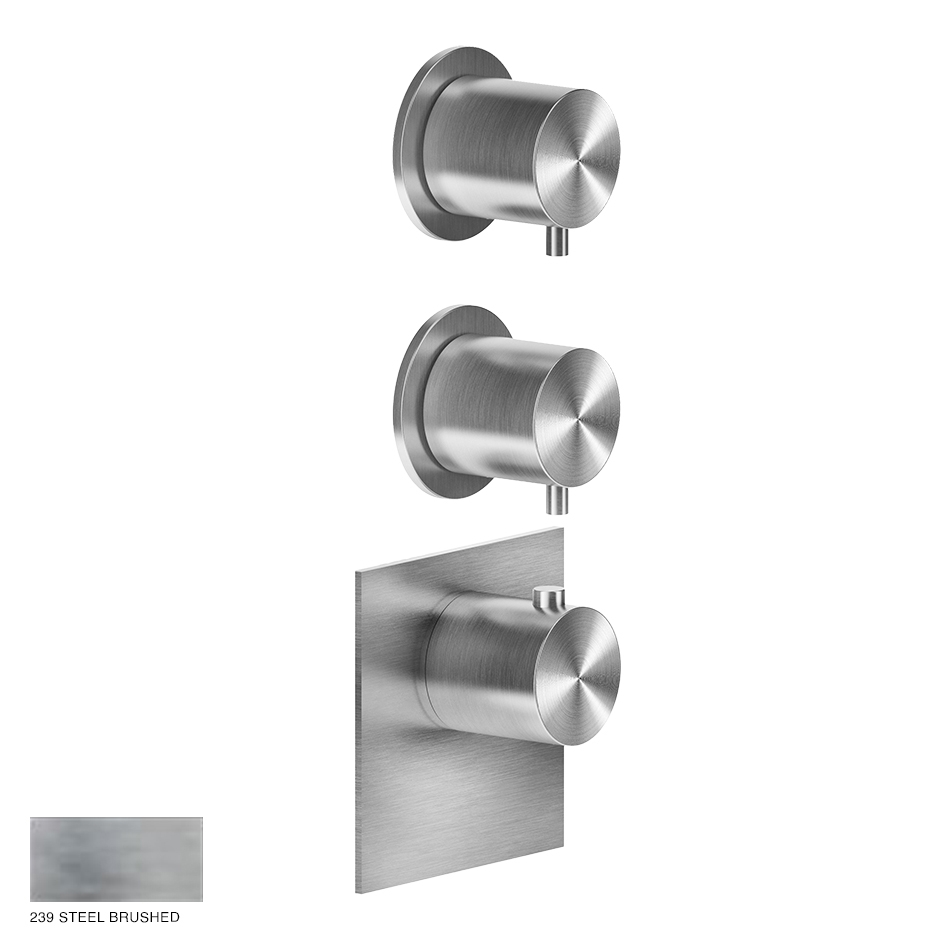 Gessi 316 Wellness Built-in mixer, two outlets 239 Steel Brushed