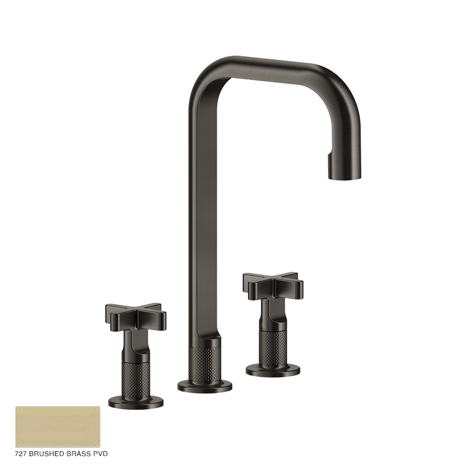 Inciso+ Three-hole Basin Mixer with spout, without waste 727 Brushed Brass PVD