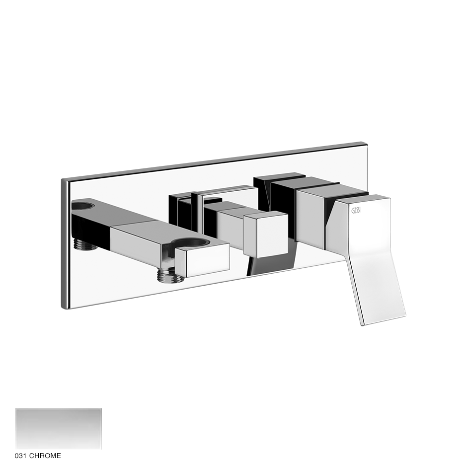 Rettangolo Two-way built-in mixer, with diverter and outlet 031 Chrome