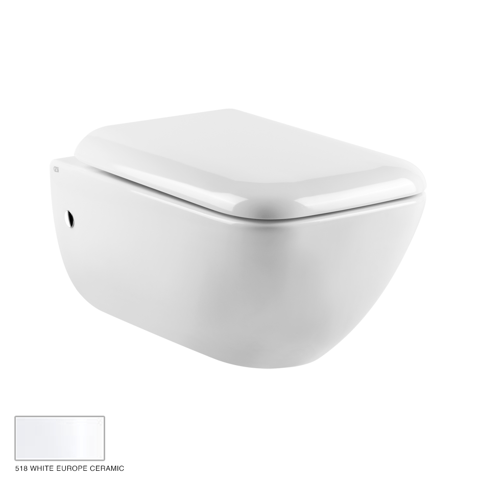 Goccia Wall hung WC, siphon included 518 White Europe Ceramic