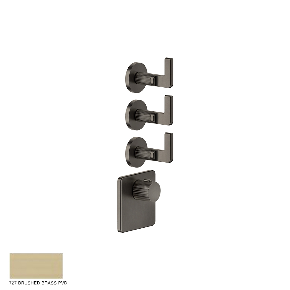 Inciso Wellness Built-in mixer, three outlets 727 Brushed Brass PVD