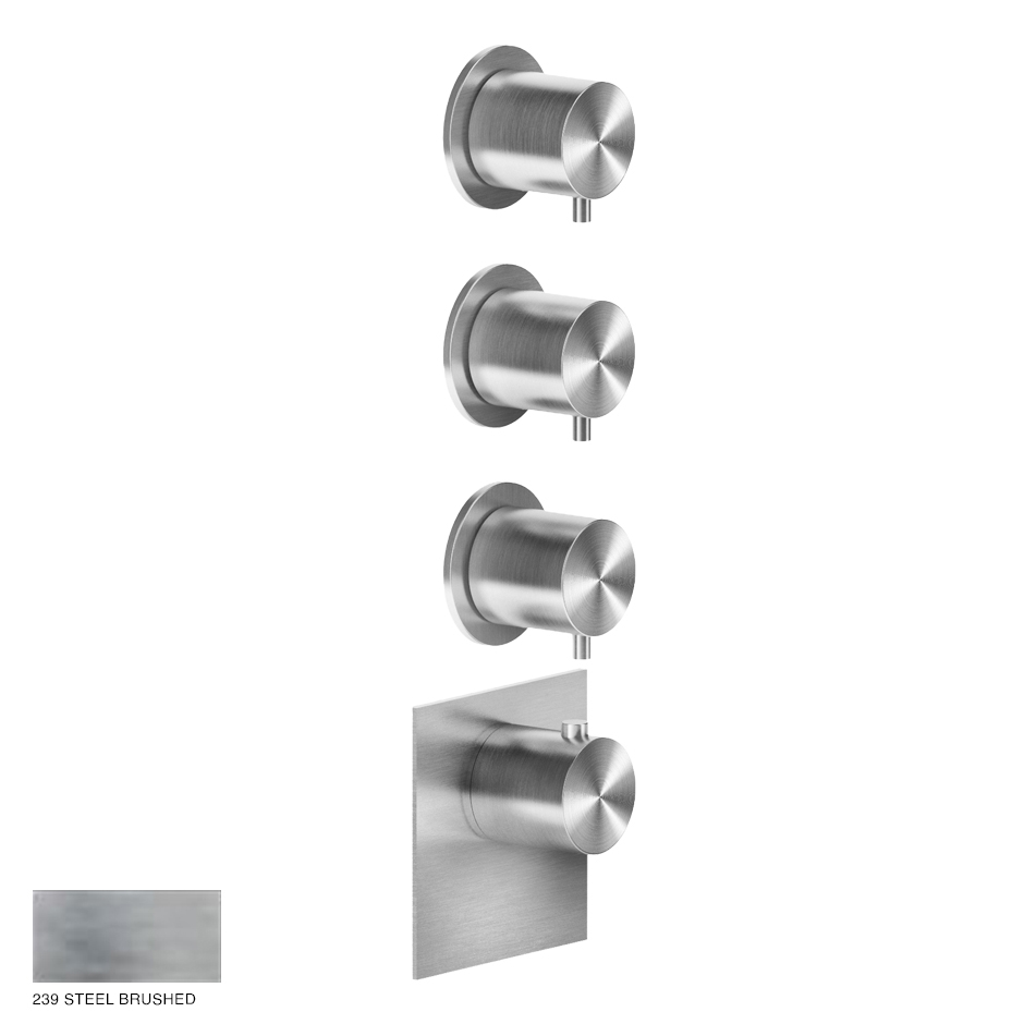 Gessi 316 Wellness Built-in mixer, three outlets 239 Steel Brushed