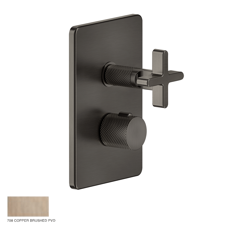 Inciso+ Thermostatic Mixer with three-way diverter 708 Copper Brushed PVD