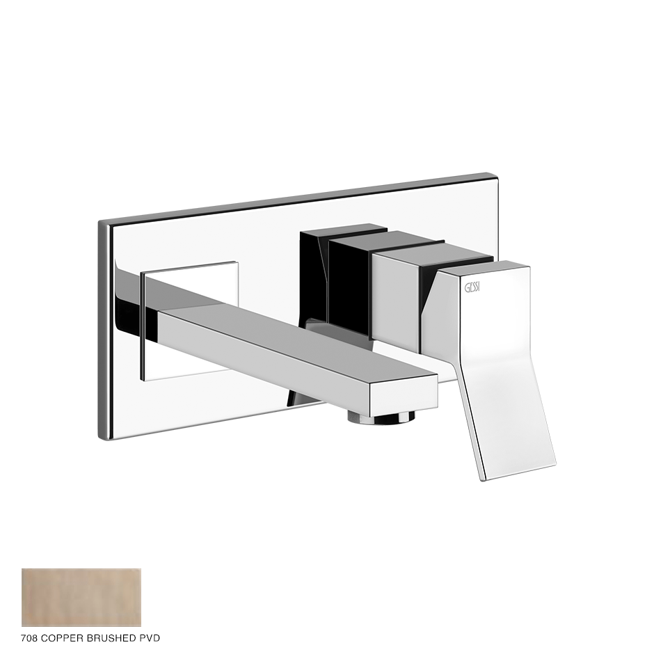 Rettangolo Built-in mixer with spout, without waste 708 Copper Brushed PVD