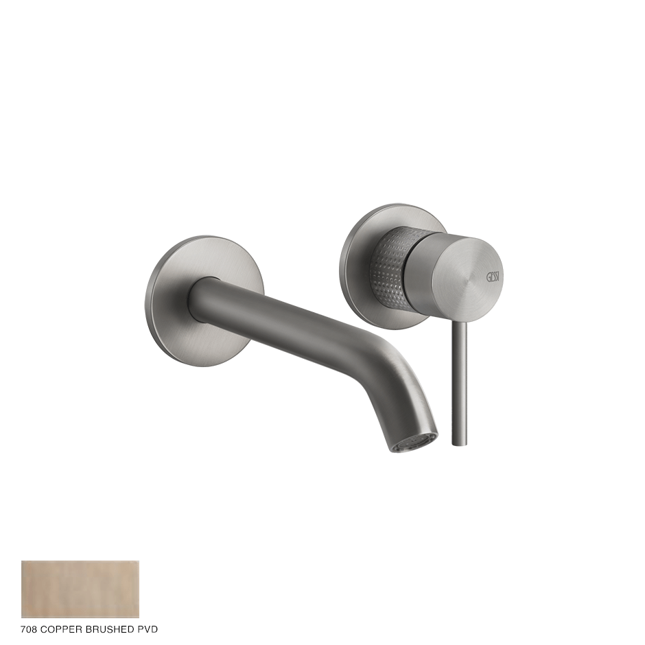 Gessi 316 Built-in Mixer with spout Cesello, without waste 708 Copper Brushed