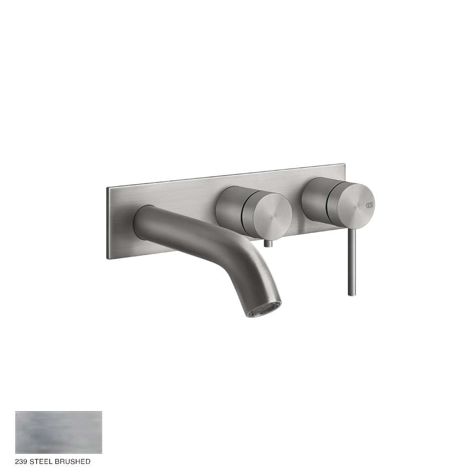 Gessi 316 Two-way Shower Mixer with diverter, tub-filler 239 Steel brushed
