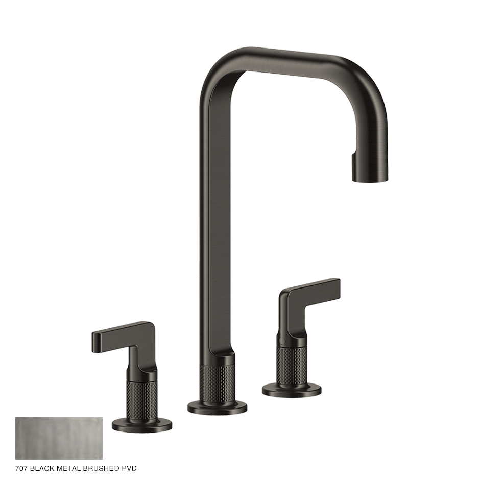 Inciso- Three-hole Basin Mixer with spout and pop-up waste 707 Black Metal Brush