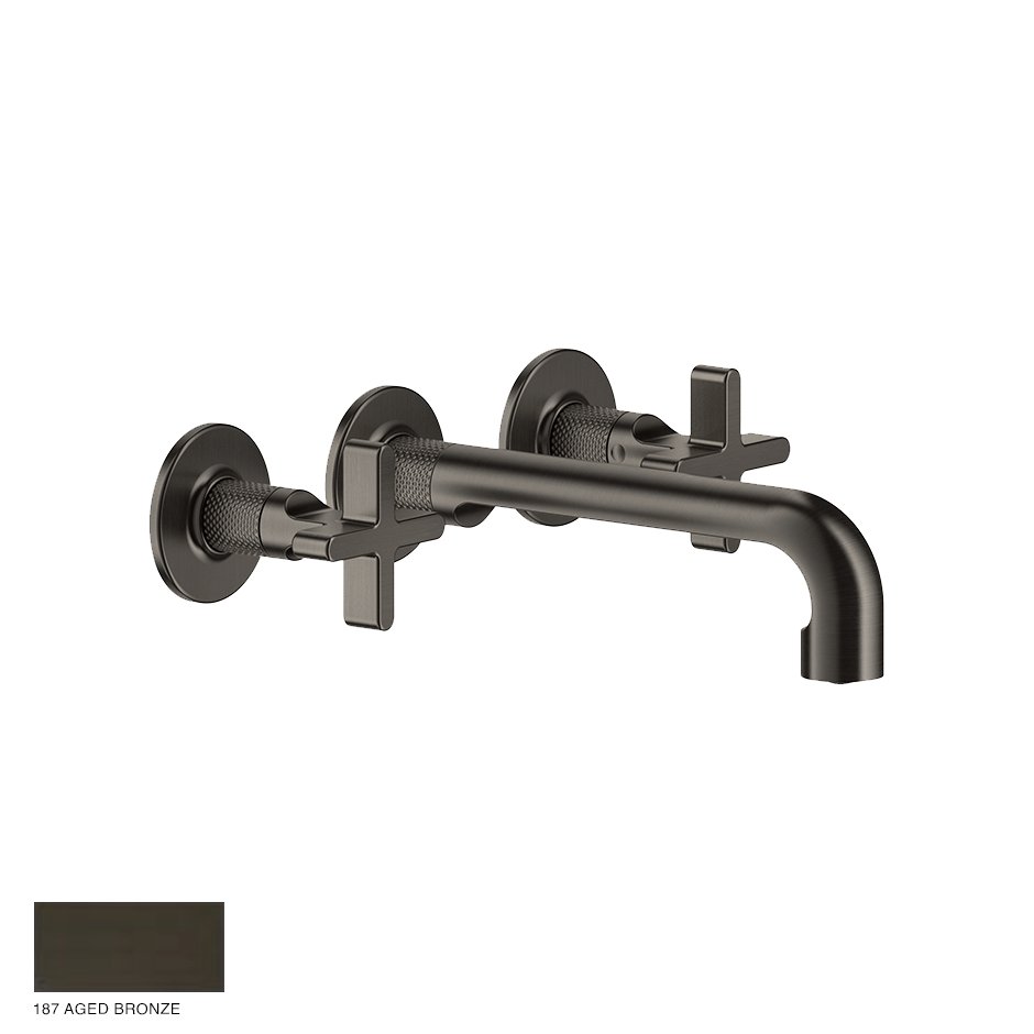 Inciso+ Three-hole Basin Mixer with spout, without waste 187 Aged Bronze