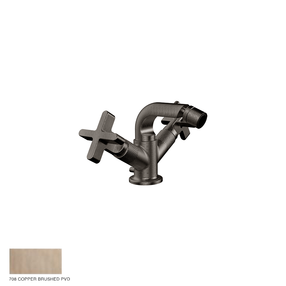 Inciso+ Bidet mixer, with pop-up waste 708 Copper Brushed PVD