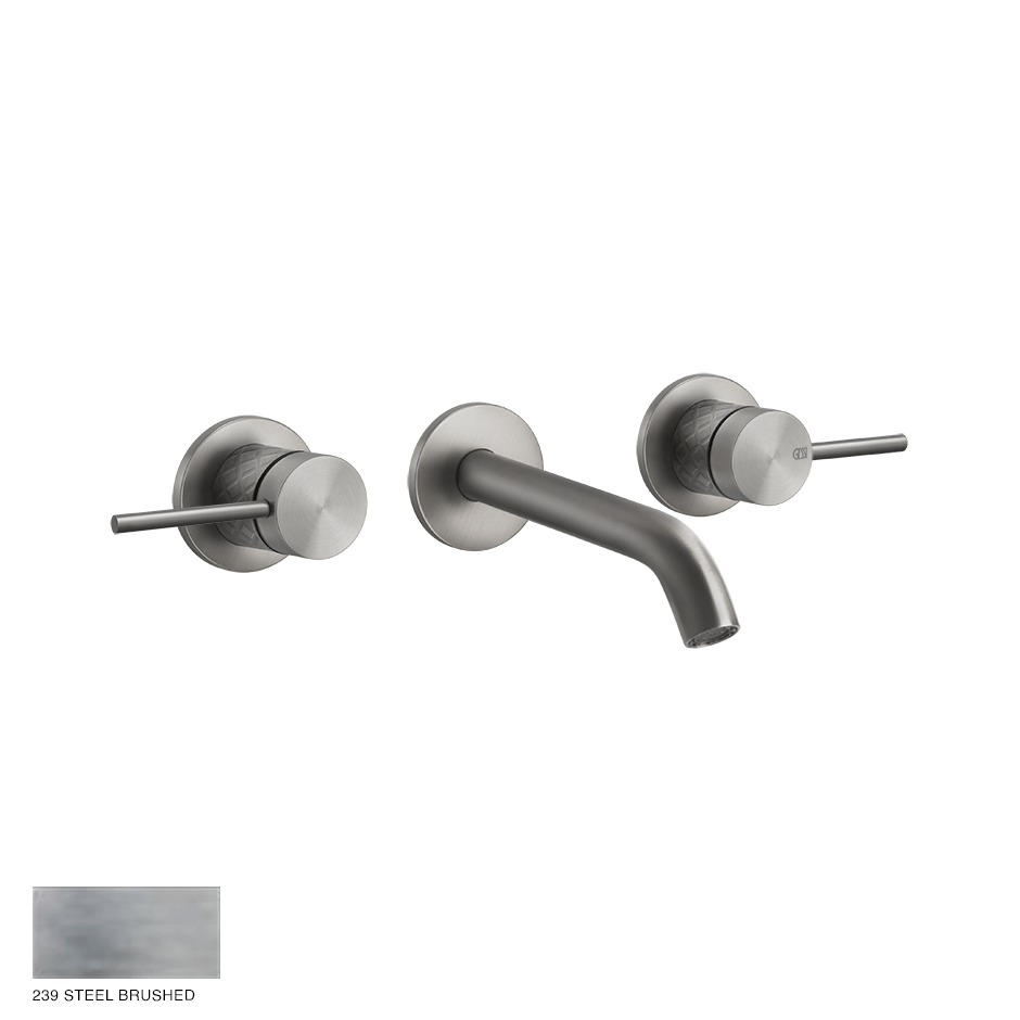 Gessi 316 Built-in Three-hole Mixer Intreccio, without waste 239 Steel brushed