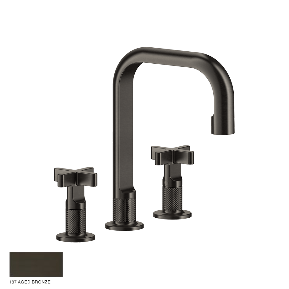Inciso+ Three-hole Basin Mixer with spout and pop-up waste 187 Aged Bronze