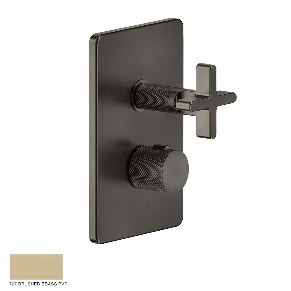 Inciso+ Thermostatic Mixer with three-way diverter 727 Brushed Brass PVD