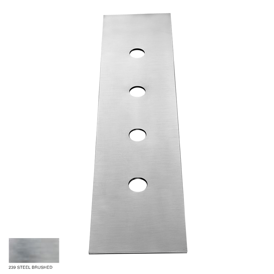 Gessi 316 Four-hole finishing plate for mounting box 239 Steel brushed