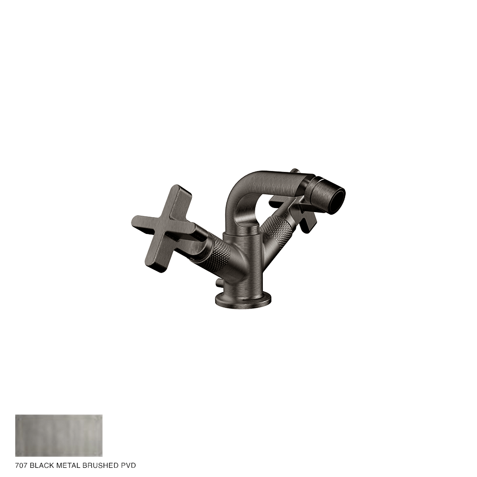 Inciso+ Bidet mixer, with pop-up waste 707 Black Metal Brushed PVD
