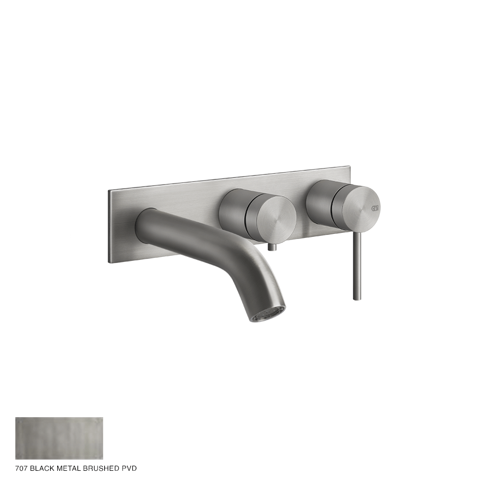Gessi 316 Two-way Shower Mixer with diverter, tub-filler 707 Black Metal Brush
