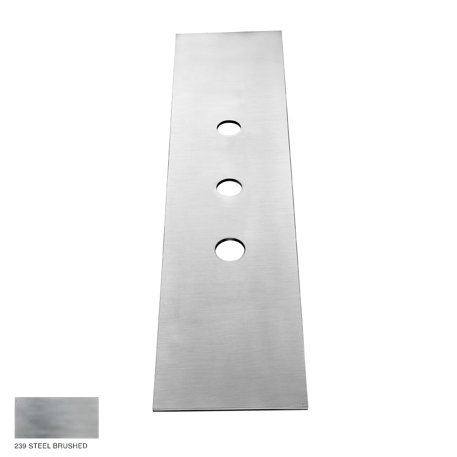 Gessi 316 Three-hole finishing plate for mounting box 239 Steel brushed