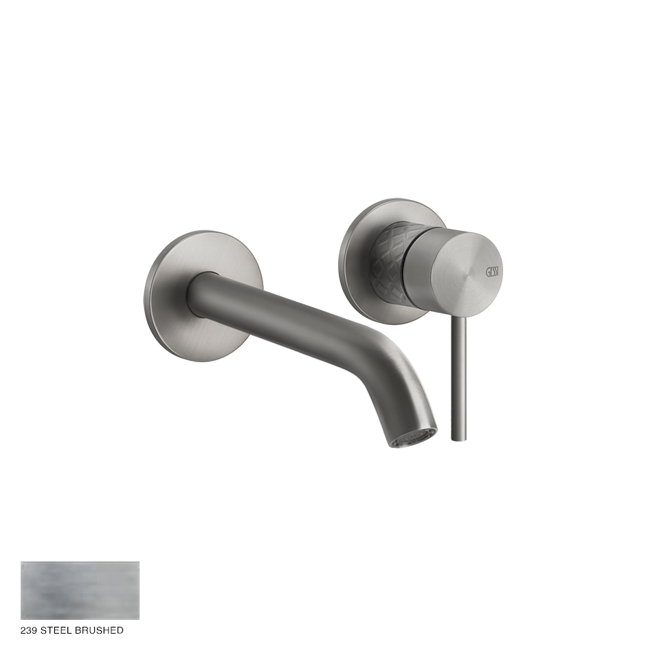 Gessi 316 Built-in Mixer with spout Intreccio, without waste 239 Steel brushed