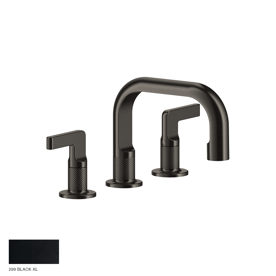 Inciso- Three-hole Basin Mixer with spout and pop-up waste 299 Black XL