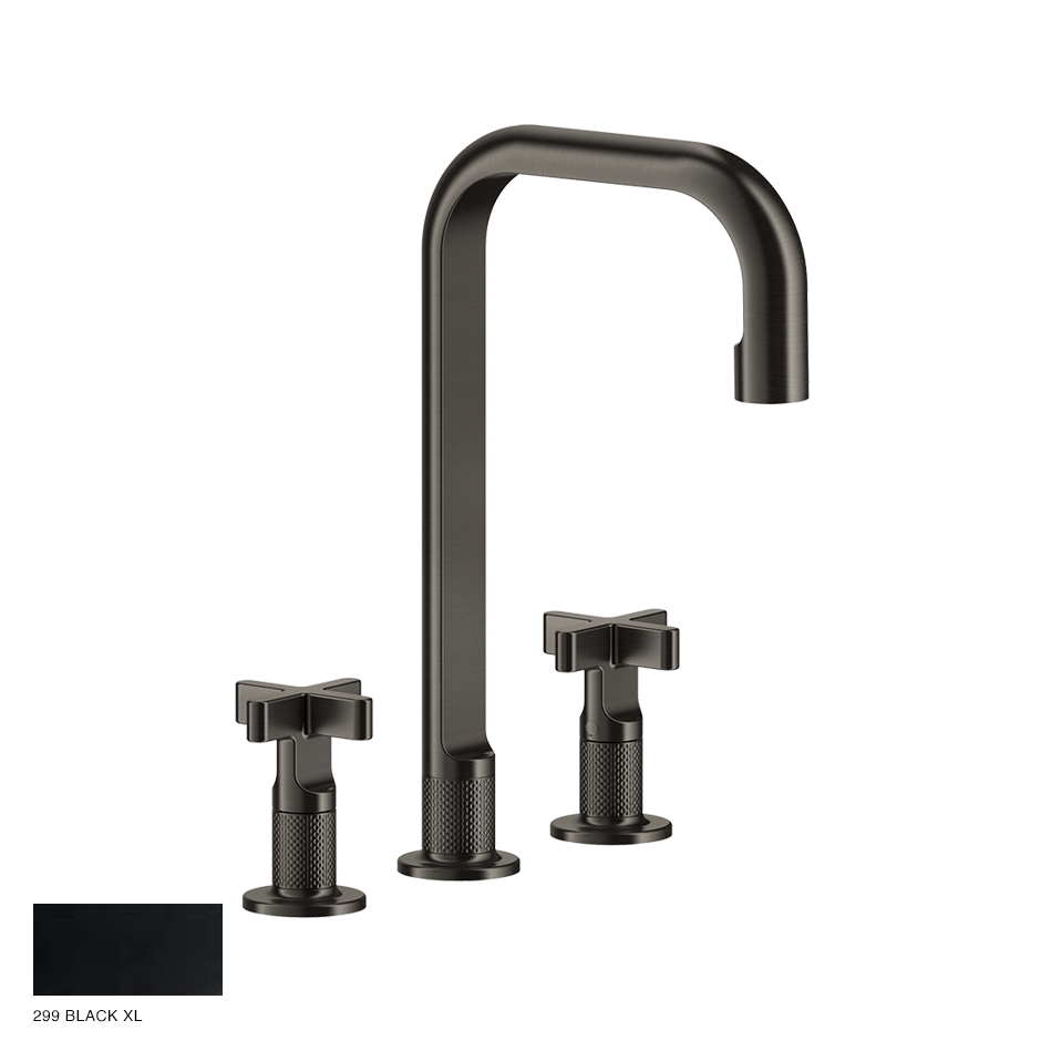 Inciso+ Three-hole Basin Mixer with spout and pop-up waste 299 Black XL