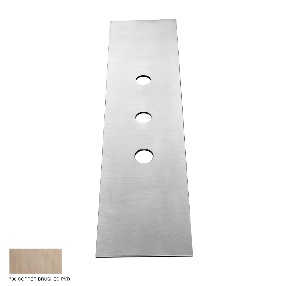 Gessi 316 Three-hole finishing plate for mounting box 708 Copper Brushed