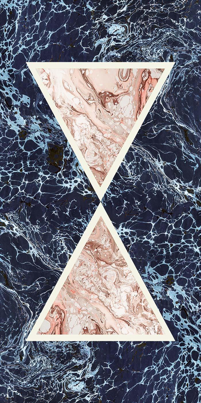 Araldica Triangoli Blu Glossy 6mm 120 x 240