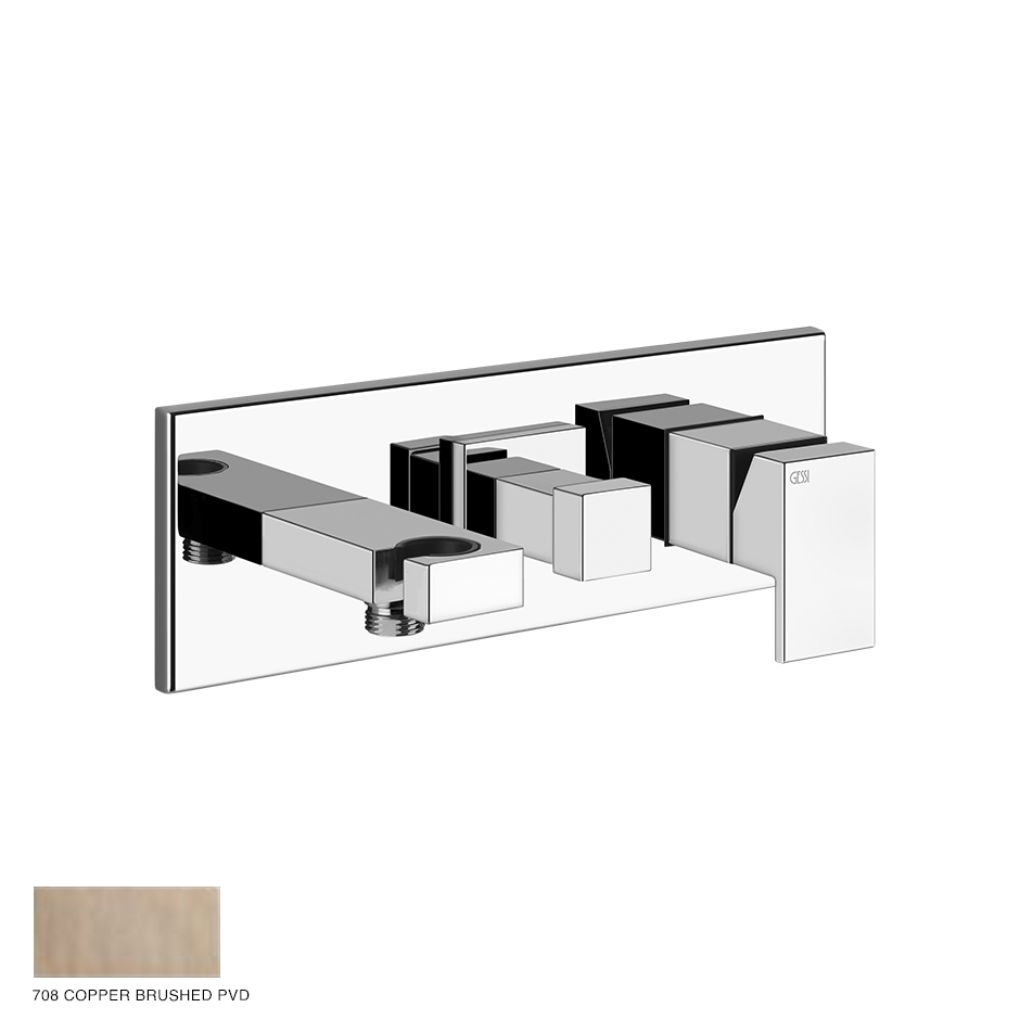Rettangolo Shower mixer with diverter, hook, two-way 708 Copper Brushed PVD