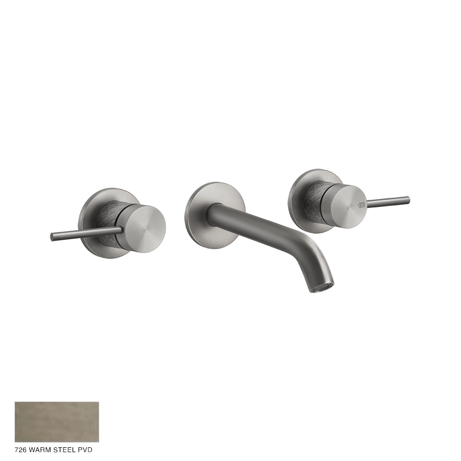 Gessi 316 Built-in Three-hole Mixer Intreccio, without waste 726 Warm Bronze Brushed PVD