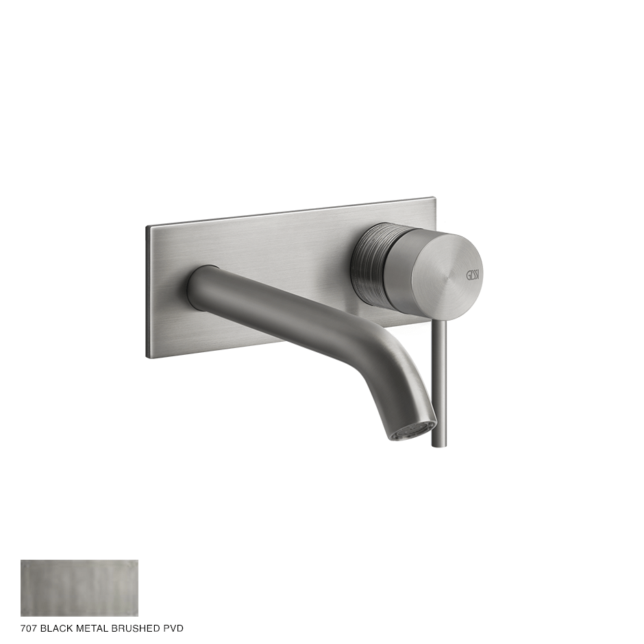 Gessi 316 Built-in Mixer with spout Trame, without waste 707 Black Metal Brushed
