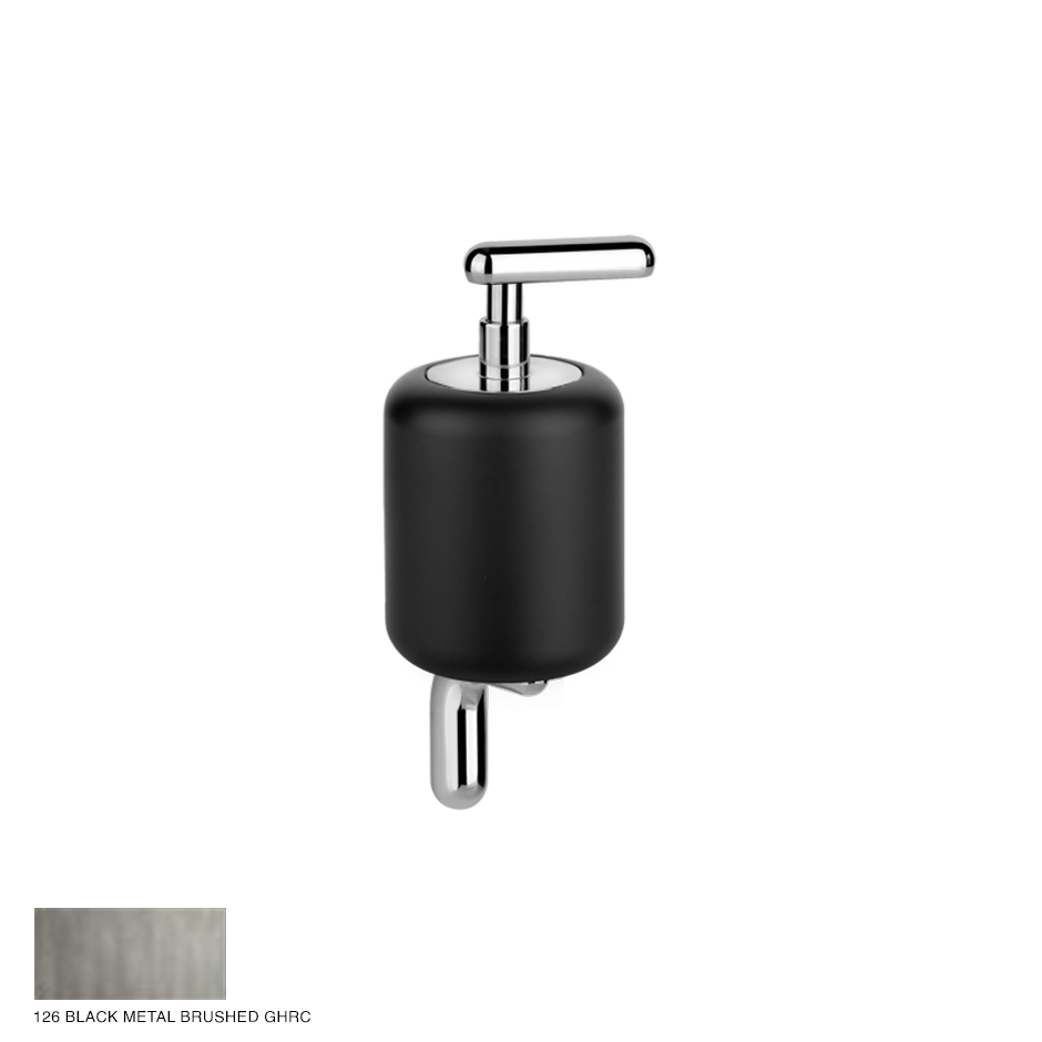 Goccia Wall-mounted soap dispenser 126 Black Metal Brushed GHRC