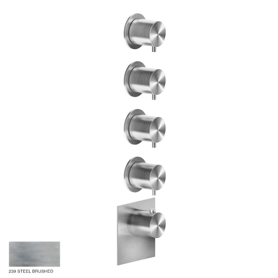 Gessi 316 Wellness Built-in mixer, four outlets 239 Steel Brushed