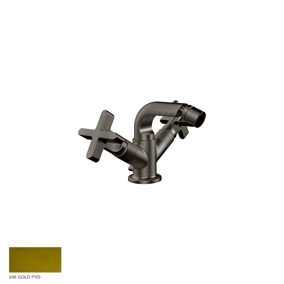 Inciso+ Bidet mixer, with pop-up waste 246 Gold PVD