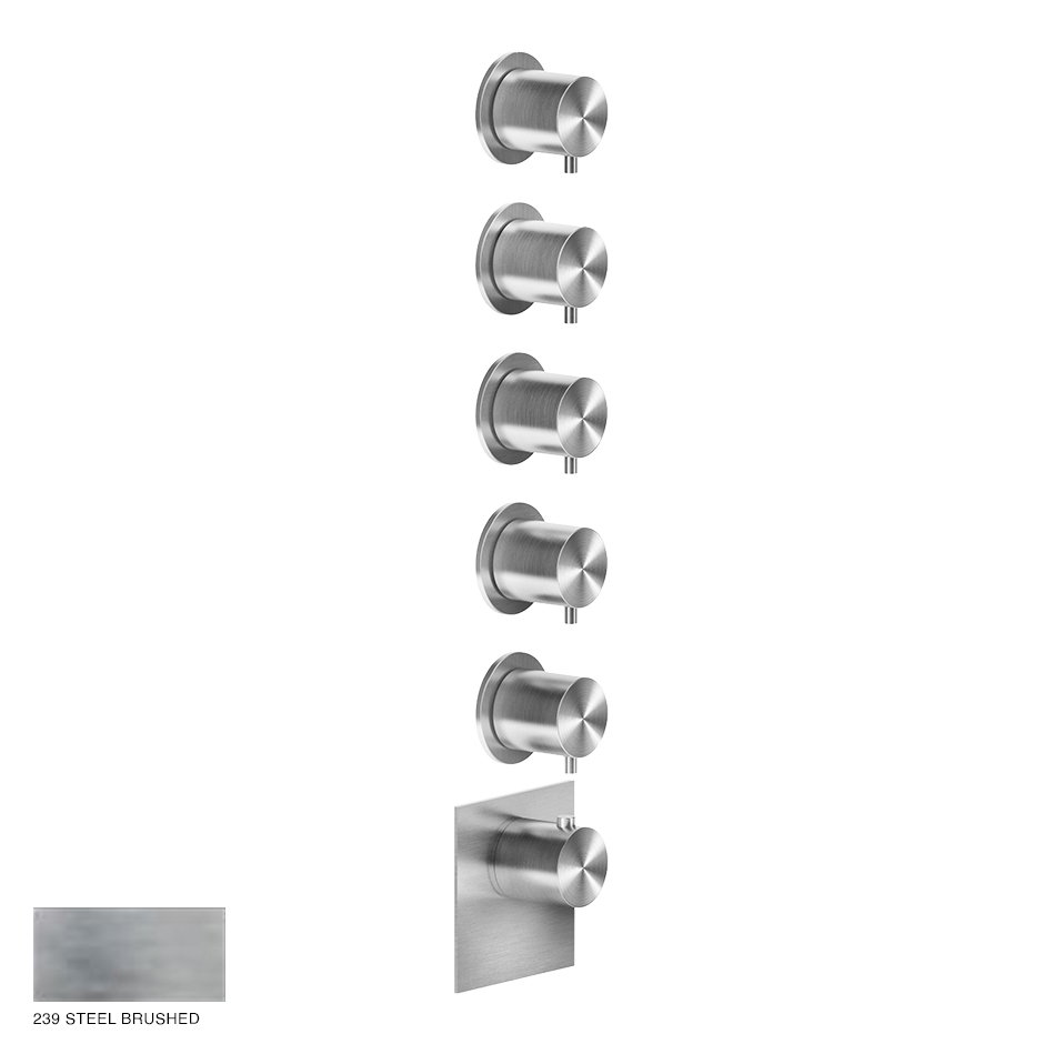 Gessi 316 Wellness Built-in mixer, five outlets 239 Steel Brushed