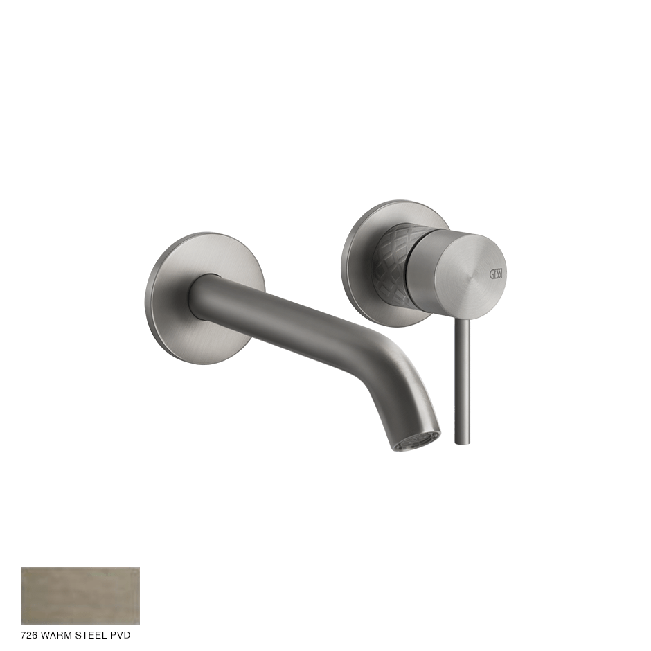 Gessi 316 Built-in Mixer with spout Intreccio, without waste 726 Warm Bronze Bruhed PVD