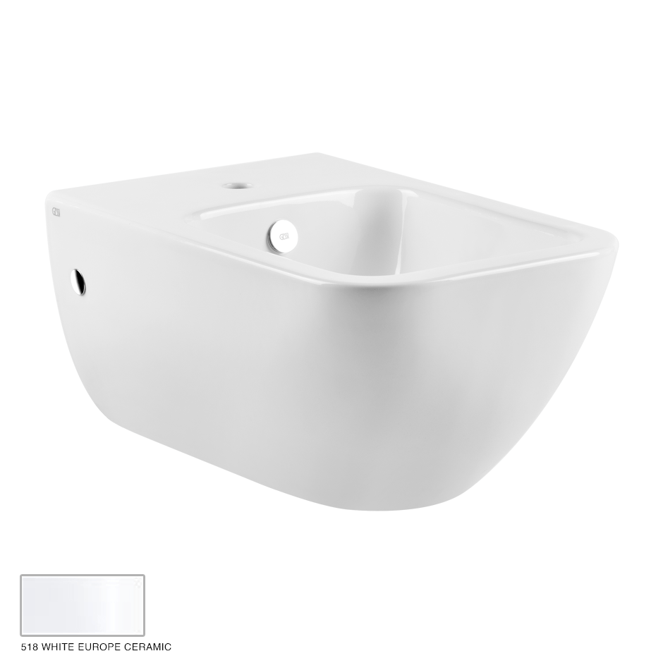 Goccia Wall hung Bidet, with center hole for fittings 518 White Europe Ceramic