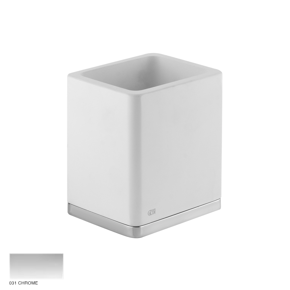 Ispa Standing tumbler holder white 031 Chrome