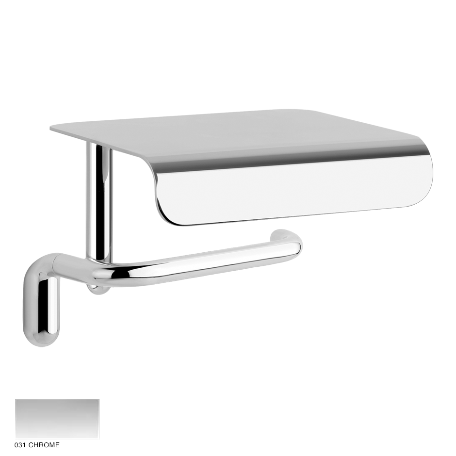Goccia Wall-mounted paper roll holder with cover 031 Chrome