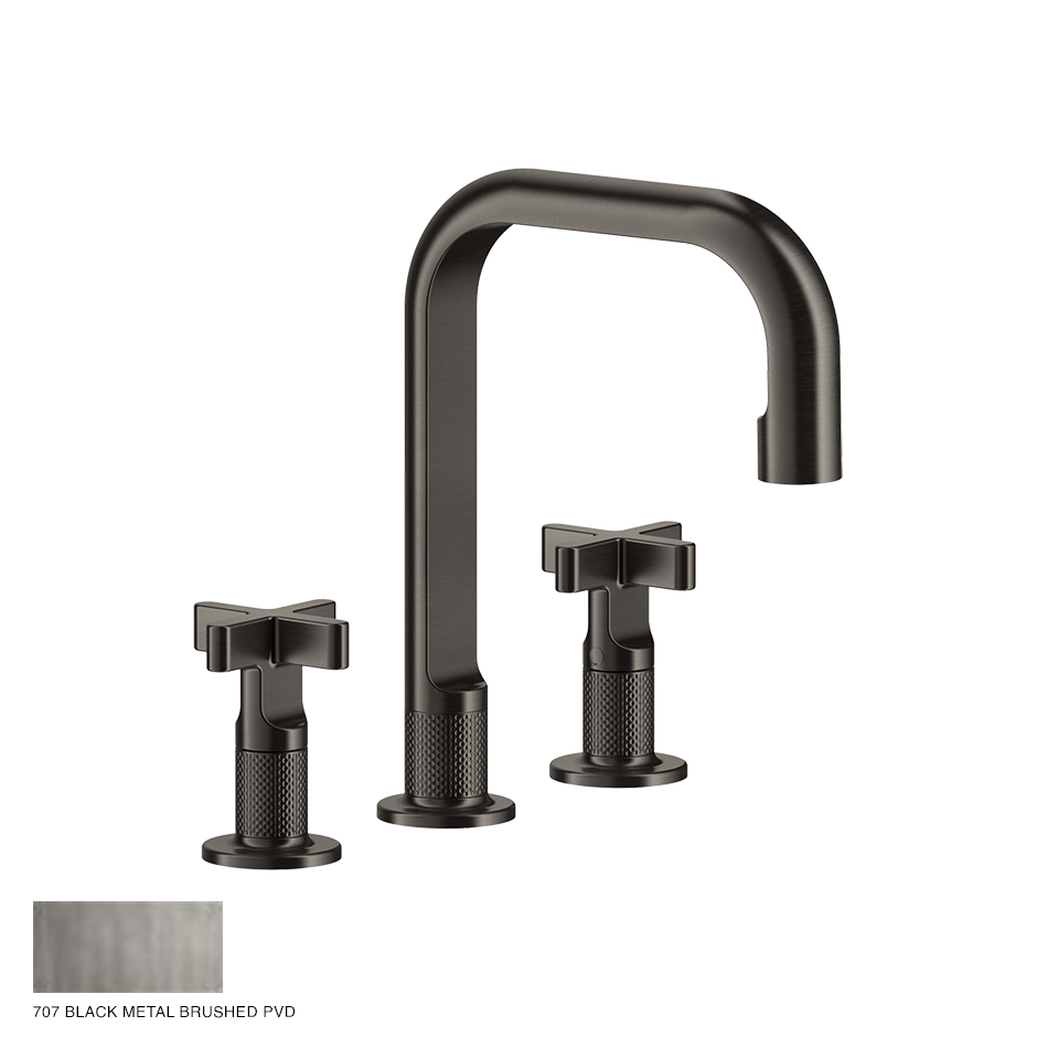 Inciso+ Three-hole Basin Mixer with spout, without waste 707 Black Metal Brush