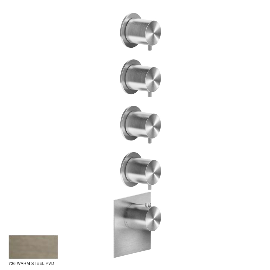 Gessi 316 Wellness Built-in mixer, four outlets 726 Warm Bronze Brushed PVD