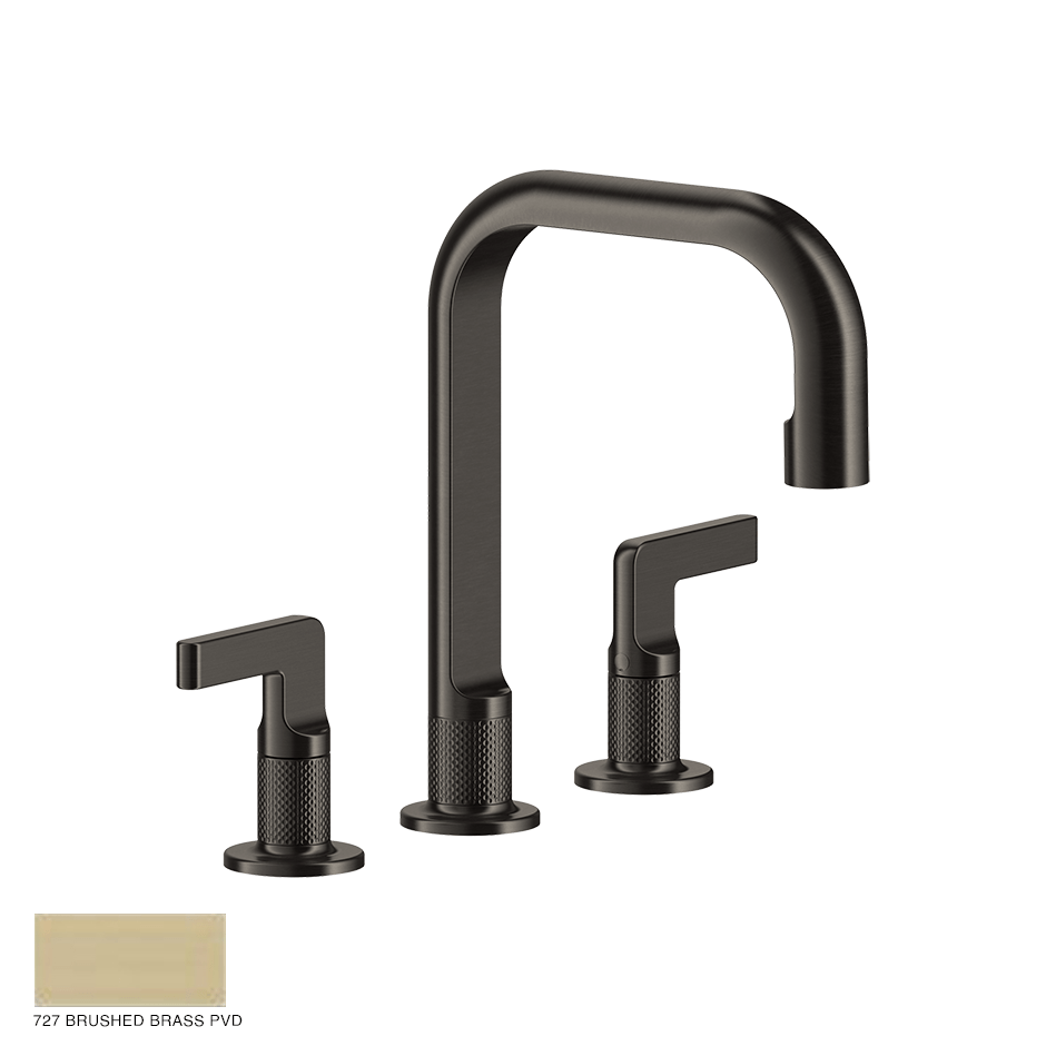 Inciso- Three-hole Basin Mixer with spout and pop-up waste 727 Brushed Brass PVD