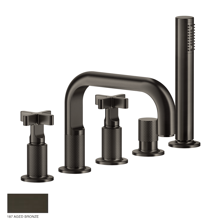 Inciso+ Five-hole Bath Mixer with diverter and handshower 187 Aged Bronze